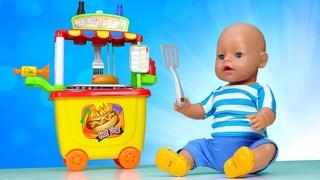 Смешные видео куклы – БЕБИ БОН и тележка с Хот Догами! Baby Born игры для девочек. Видео распаковки