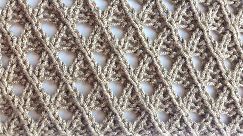 Симпатичные ажурные диагонали спицами для вязания джемперов пляжных туник шалей палантинов