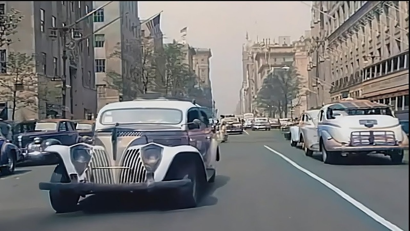 New York 1940s in Color Driving Downtown 60fps Remastered added sound