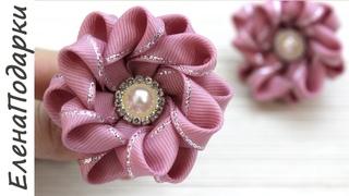 Цветок из ленты 🌸 / Flor de fita / Новогодние резиночки / DIY / Канзаши / Kansasi ЕленаПодарки МК