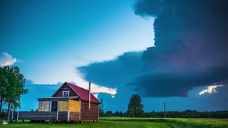 Thunderstorm Breaks Through Thick Clouds in Rapla County, Estonia