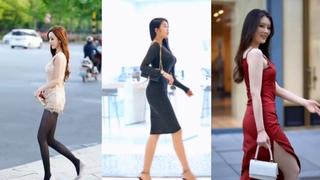 Азиатская сексуальная красивая девушка, сексуальная, длинные ноги, чулки, короткая юбка. #72