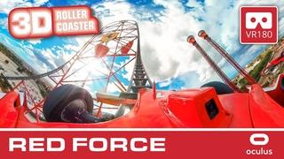 RED FORCE 3D - VR Roller Coaster   VR180 POV   Ferrari Land Port Aventura Montaña Rusa #OCULUS