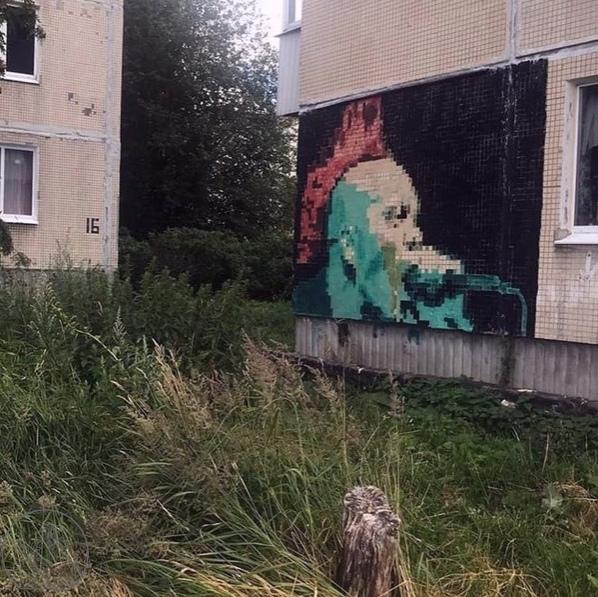 Жилые дома в посёлке Елизаветино украсили пиксельн...