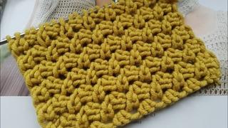 Вяжем рельефный фоновый узор спицами 🍂 knitting pattern.